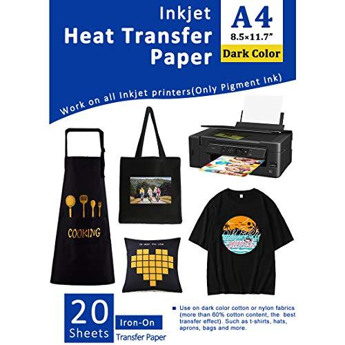 """Papel de transferencia de calor para tela oscura Plancha de inyección de tinta en transferencias para camisetas Vinilo de transferencia de calor imprimible 8.5x11""""Paquete de 10 hojas"""