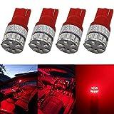 AMAZENAR 4 LED rouges 5ème génération 194 168 921 240 lumens 12 V-24 V pour équipements extérieurs ou intérieurs de voiture Référence T10 18SMD 3014