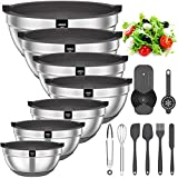 Mixing Bowls with Airtight Lids, 20 piece Stainless Steel Metal Nesting Bowls, AIKKIL Non-Slip Silicone Bottom, Size 7, 3.5, 2.5, 2.0,1.5, 1,0.67QT Great for Mixing, Baking, Serving (Grey)