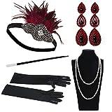 Yuccer Accesorios Anos 20 para Mujer con Vintage Diadema, Collar de Perlas, Pendientes, Guantes Largos, Boquilla (Rojo)