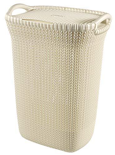 Curver 228391 - Cesta de ropa Knit, 57 L, 43.2 x 32.1 x 59.4 cm, color blanco oasis