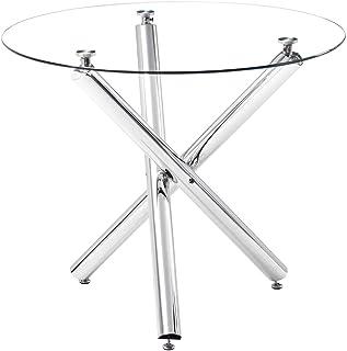Table de salle à manger ronde en verre avec pieds chromés, 90 x 90 x 75 cm