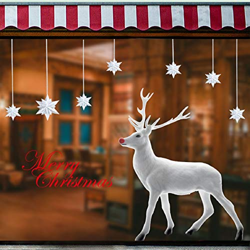 Voqeen Navidad Pegatina Calcomanías para ventanas Lindo Decoración de ventanas Renos grandes Calcomanías electrostáticas ventanas