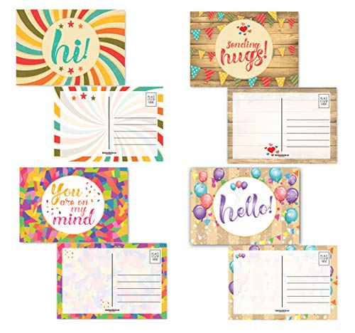 """Keep In Touch Postcards - 4 Fun Designs Think of You - 40 Postcards - 4"""" x 6"""" Friendship Postcards - Made In USA (Hi Variety #1)"""
