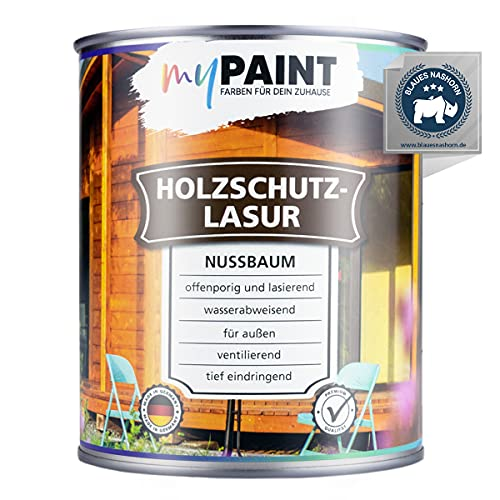 myPAINT® Holzschutzlasur (750ml, Nussbaum) seidenglänzende Holzlasur Außen- Holz Grundierung - Holz Lasur - Holzlasur Aussen - Made in Germany
