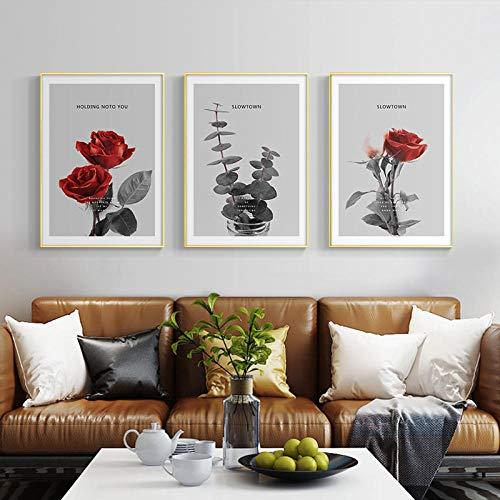 GYJDD Flores de Rosas Rojas, Cuadro en Lienzo, Cuadrosde Flores nórdicas, Impresiones, imágenes, Sala de Estar Moderna, Interior, hogar, Arte de Pared, decoración, Cuadros 40x60cmx3 sin Marco