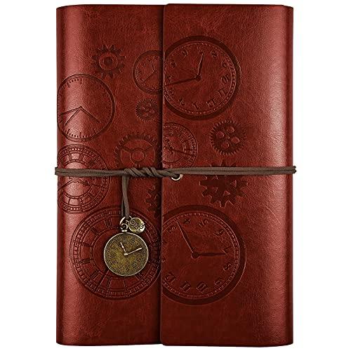 Cuaderno de piel con espiral, diario de viaje, diario de escritura con papel de línea, regalo para niñas y niños, tamaño A6, 18 x 13 cm, color rojo
