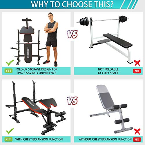 OppsDecor Strength Training Olympic Weight Benches for Full Body Workout - Adjustable Olympic Weight Bench for Indoor Exercise(US Stock) (Deep Red)