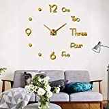 Elikeable New Frameless DIY Wall Clock,3D Surface Mirror Wall Clock Modern Design Large Mute Wall Watches Stickers for Living Room Bedroom Home Decorations (Gold)