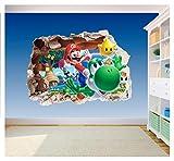 Vinilo adhesivo para pared de Super Mario Brothers, para decoración de dormitorio infantil, 2 unidades, Extra Large 800 x 575mm