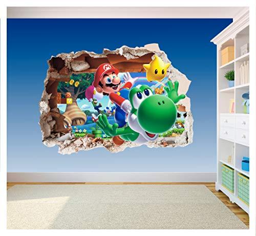 Super Mario Brothers 2Art Wand Loch bedruckt Vinyl Aufkleber Aufkleber Kinder Schlafzimmer (ss40016), Supersize 1200 x 855mm
