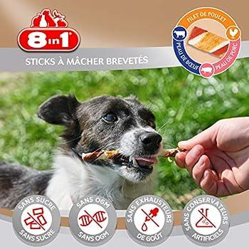 8in1 Triple Flavour Sticks – Bâtonnet torsadés à Mâcher pour Chien de Petite Taille – Plus de viande, plus de durée de mâche - Limite le Tartre - Sans OGM, Conservateur Artificiel