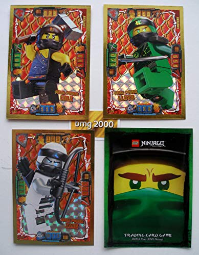 Lego Ninjago Serie 4 - 3 Limitierte Gold Karten Trading Card LE 2 Mega Power Cole LE 3 Mega Power Lloyd LE 5 Mega Power Zane