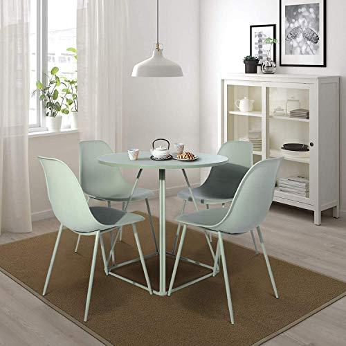 FurnitureR Eames Mesa Redonda Extremadamente Resistente y Duradera con Estructura de Metal 79.8 * 79.8 * 75cm Verde(No Incluye 4 sillas)