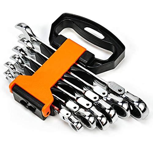 Juego de 6 Llaves fijas con trinquete y articulación de Llave combinadas Herramientas de Trabajo,8-19 mm Herramientas Cromo vanadio Métrica Llaves Combinadas,B