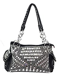 Gem Studded Rhinestone Concealed and Carry Black Purse