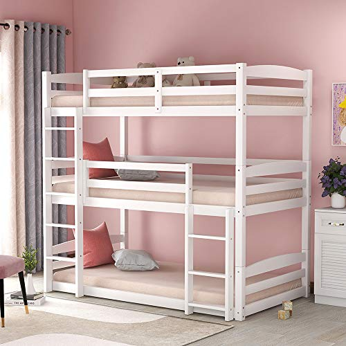 Low Bunk Beds for Kids and Toddlers, Wood Bunk Beds No Box Spring Needed (White Triple Bunk Beds)