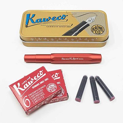 Kaweco Sport vulpen Deep Red voor patronen achthoekig | Vulpen met veer M | Kaweco set met vulpatronen | 12 patronen met Kaweco inkt gratis rood