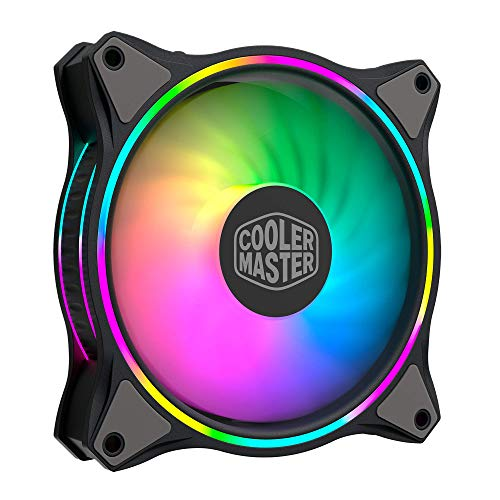 Cooler Master MasterFan MF140 Halo Duo-Ring ARGB Lighting, 24 Independently LEDS, 140mm PWM Static Pressure Fan, Absorbing Pads for Computer Case & Liquid Radiator