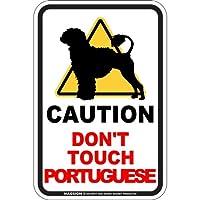 CAUTION DON'T TOUCH マグネットサイン:ポーチュギーズ/ライオンカット(スモール) 注意マーク 手を出さない 触れない/触らない 英語 防犯 アメリカンマグネットステッカー