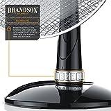 Brandson - Tischventilator 40cm   Tisch Ventilator mit 3-Leistungsstufen   Schreibtischventilator oszillierend   klein und leise   50W   Neigungswinkel ca. 30°   Oszillation ca. 85°   Silber