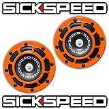 Sickspeed 2Pc Orange Super Loud Compact Electric Blast Tone Horn Car/Truck/SUV 12V P2 for Shelby Cobra