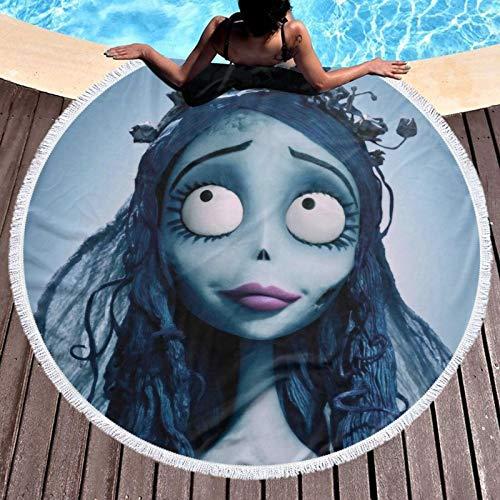 T-im Burton's C-orpse - Toalla de ducha de microfibra para piscina, playa, unisex, súper absorbente, portátil, para playa, baño, viajes, crucero, regalos al aire libre, diámetro redondo de 132 cm