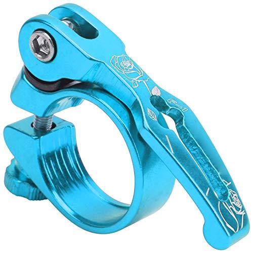 Abrazadera de tija de sillín de bicicleta, abrazadera de sillín de bicicleta ligera de 31,8 MM, abrazadera de tija de sillín de bicicleta de montaña de liberación rápida de aleación de aluminio(azul)