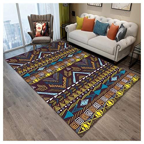 QINJLI Stuoie Retro-tapijt voor slaapkamer, woonkamer, tafel, terra in de stijl van Turkse antislip tapijten ter vermindering van lawaai op zona.