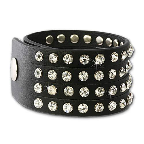 SilberDream Lederarmband schwarz mit Zirkonia Steinchen für Damen Leder Armband Echtleder LAP230S