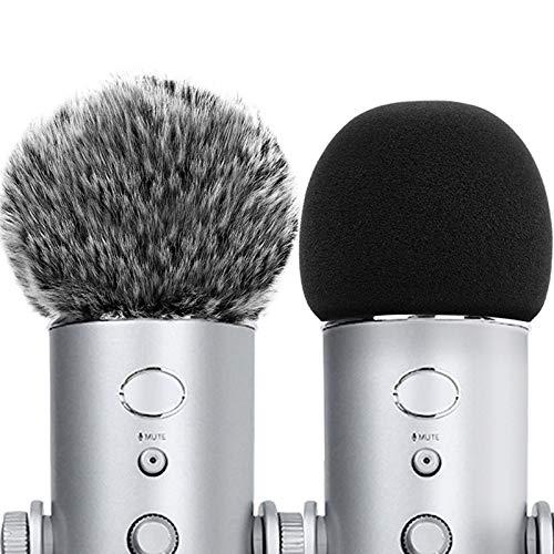 ChromLives Funda para micrófono para parabrisas azul Yeti Furry + cubierta de espuma compatible con el condensador Yeti, Yeti Pro (combo de espuma y espuma 2 unidades)