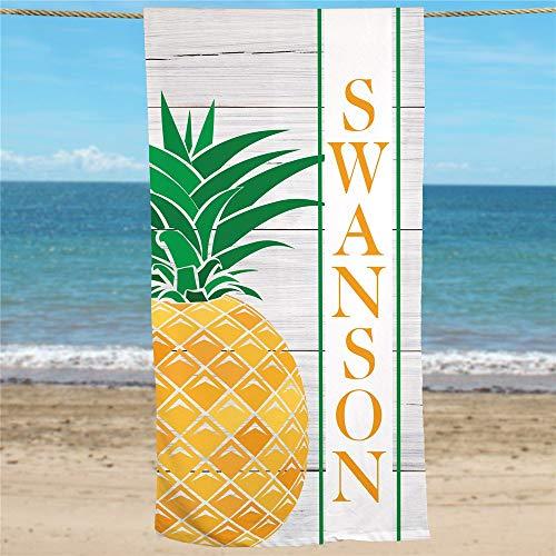 Ced454sy Gepersonaliseerde Ananas Beach Handdoek zomer unieke aangepaste speciale badhanddoek leuke handdoek geel groen