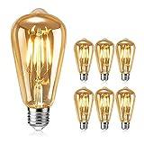 Ampoule Edison, otutun Ampoule LED Vintage Lampe Décorative E27 4W Rétro Filament Ampoule Antique Blanc Chaud pour Restaurant, Café, Windows, Showrooms Ampoules à incandescence- 6 Pack