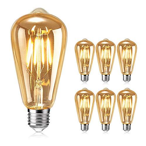 Vintage Edison Glühbirne, otutun Edison LED Lampe E27 4W Warmweiß Retro Glühbirne Squirrel Cage Filament Antike Glühbirne Ideal für Nostalgie und Retro Beleuchtung im Haus Café Bar usw - 6 Stück