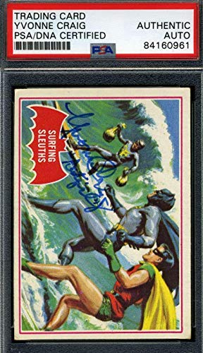 Yvonne Craig Coa Signed 1966 Batman Card #20a Authenticated Autograph - PSA/DNA Certified - TV Trading Cards