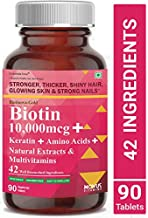 Carbamide Forte Biotin 10,000mcg with Keratin, Bamboo Extract, Amino Acids, Natural Extracts & Multivitamins for Women & Men | Total 42 Ingredients Supplement for Fast Hair Growth – 90 Veg Tablets