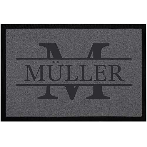 SpecialMe® Fußmatte mit Namen Familie und Initiale Buchstabe personalisierbare Türmatte rutschfest & waschbar weiß 60x40cm
