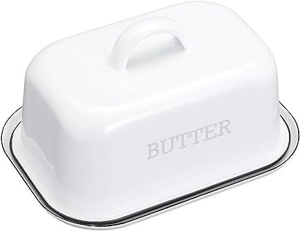 KitchenCraft LNENBUTTER Living Nostalgia Vintage Butterdose, Emaille, mit Deckel, 18.7 x 13.5 x 10 cm, weiß, 2-teilig preisvergleich bei geschirr-verleih.eu