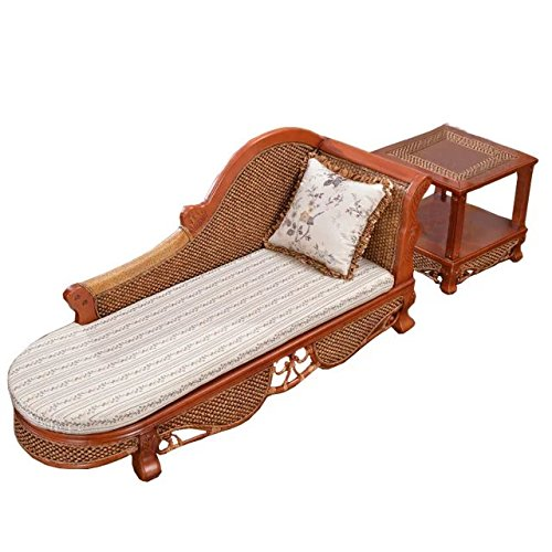 Sungao Naturel Bambou - rotin Osier Ensemble de chauffeuse/inclinable Chaise/Lay Chaise/couché Chaise/siège/Chaise/Table Basse/Table de thé/côté Table/Table de Fin