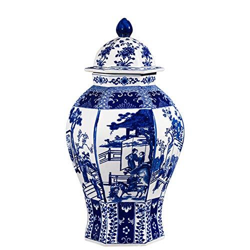 Creative Blu e Bianco Vaso in Ceramica Tradizionale Cinese Vaso Creativo Grande Grande Vaso Decorativo Cinese Antico Tradizionale Vaso Decorativo H32cmxW17cm A