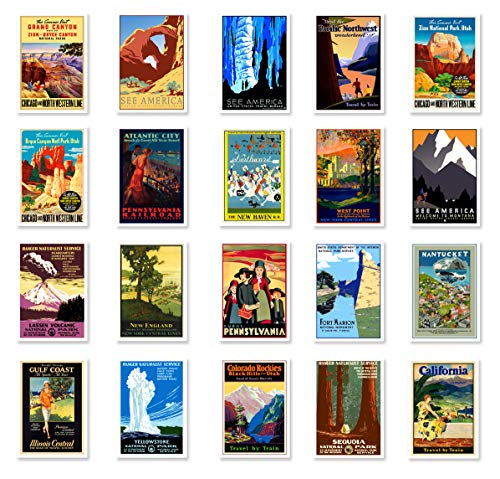 USA VINTAGE TRAVEL POSTERS postcard set of 20. Post card variety pack of United States retro poster postcards. Made in USA.