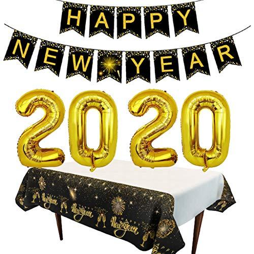 Amycute Decoraciones Feliz Año Nuevo 2020, 2020 Party Balloons Fiesta de Año Nuevo Banner y Mantel de año Nuevo para la víspera de Año Nuevo Decoraciones para Fiestas 2020