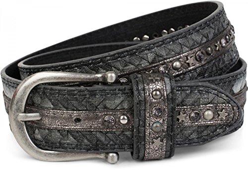 styleBREAKER cinturón de remaches en una moderna óptica trenzada, recubierto con tachuelas y remaches de estrellas y estrás, cinturón, acortable, señora 03010075, tamaño:85cm, color:Gris oscuro