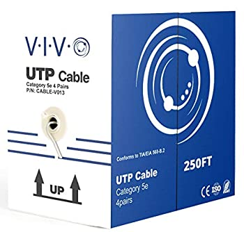 VIVO Gray 250ft Bulk Cat5e CCA Ethernet Cable 24 AWG UTP Pull Box Cat-5e Wire Indoor Network Installations CABLE-V013