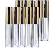 KEAIYYJ Lip Gloss Tubes with Wand Gold Empty Plastic Makeup Balm Applicator Containers 10ml/0.34 oz Reusable Dispenser Bottle Golden Top for Lipstick Samples DIY 10 Pack