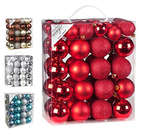 50 Christbaumkugeln 4cm und 6cm PVC Box ( rot ) // Weihnachtskugeln Baumkugeln Baumschmuck Weihnachtsdeko Kugeln