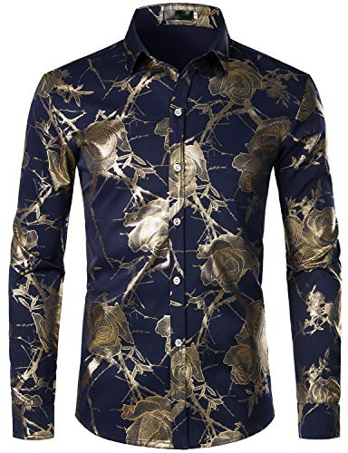 ZEROYAA Men's Shiny Golden Rose Printed Party Shirt Slim Fit Floral Button Down Dress Shirts ZZCL39 Navy X-Large