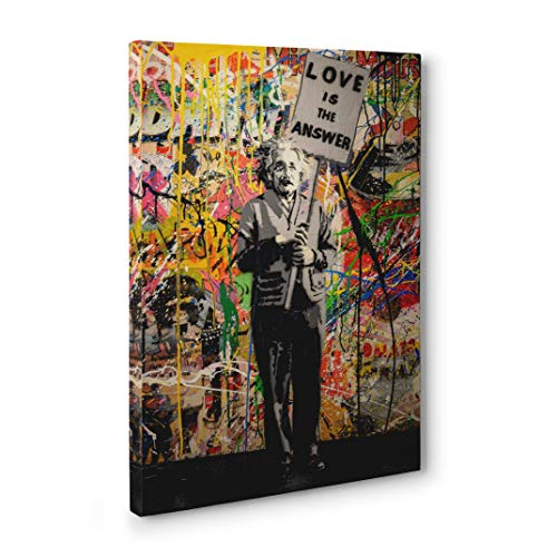 Banksy Love Is The Answer Einstein Wall Art Canvas Print - Colorful Pop Street Art Unique Artwork for Living Room Bedroom Office Large Modern Home Wall Decor Framed and Ready to Hang - Sharp Wall Arts