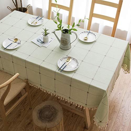 Pahajim Mantel Impermeable Antimanchas de Algodón y Lino Mantel para Mesa Resistente al Aceite Patrón Raya Mantel de Borlas Empalmado (Rejilla Verde, Rectangular, 140 x 180 cm, 4-6 Asientos)