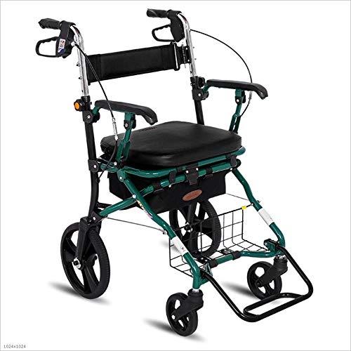 Einkaufstrolleys Einkaufswagen Old Man Trolley Kann Einen Klapprollstuhl Nehmen Multifunktionsroller Klappbarer Vierrad Geschenk Kann 150 Kg Tragen (Color : Green, Size : 57 *...
